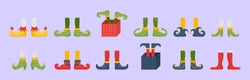 Collection of cute elves legs, boots, socks. Santa helpers shoes and pants with gifts, presents. Christmas gnome bundle. Vector. Christmas elf feet and legs set, decoration for celebration.