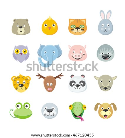 collection of cute face animal
