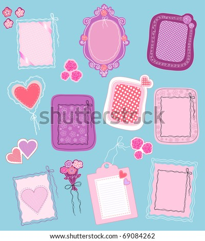 collection of cute frames and icons