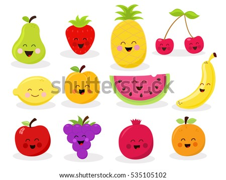 collection of cute fruit