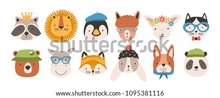 Collection of cute funny animal faces or heads wearing glasses, hats, headbands and wreaths. Set of various cartoon muzzles isolated on white background. Colorful hand drawn vector illustration