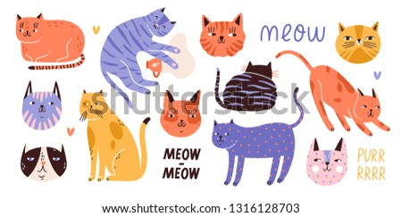 Collection of cute funny cats of various breeds lying, sitting, stretching itself, playing, sleeping and muzzles. Bundle of adorable pet animals isolated on white background. Flat vector illustration.