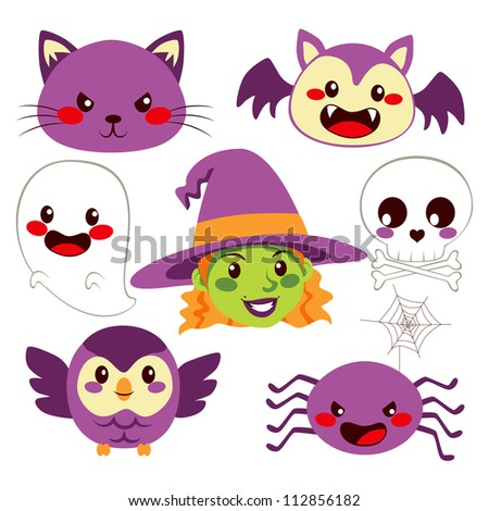 Collection of cute funny Halloween design elements