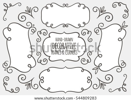 Collection of cute hand drawn frames and calligraphic elements. Decorative elements set. Vector illustration.
