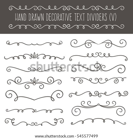 Collection of cute hand drawn vintage borders. Perfect for invitation cards and page decoration. Vector illustration.
