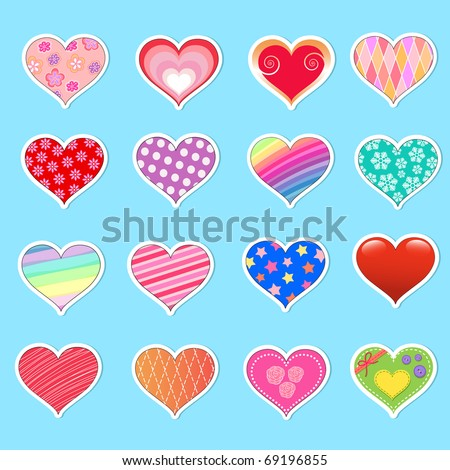 Collection of cute heart stickers