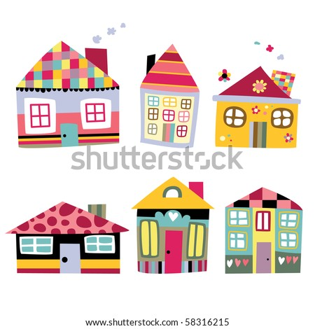 Collection of cute houses in a whimsical childlike style.