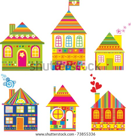 stock-vector-collection-of-cute-houses-in-a-whimsical-childlike-style ...