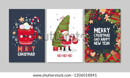 Collection of cute Merry Christmas and Happy New Year greeting cards. Set of hand drawn holiday posters templates, postcard design. Vector illustration EPS 10
