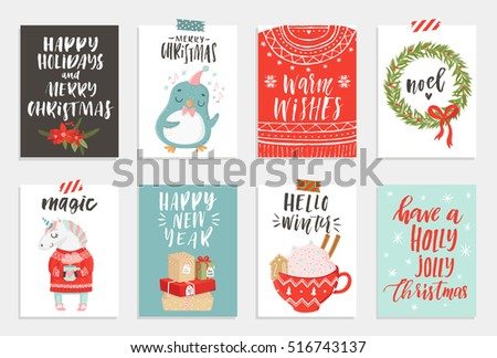 Collection of 8 cute Merry Christmas and Happy New Year ready-to-use gift cards. Set of eight printable hand drawn holiday posters templates. Vector seasonal postcard design