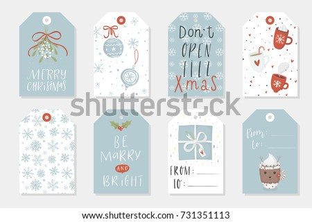 Collection of 8 cute Merry Christmas and Happy New Year ready-to-use gift tags. Set of eight krafted printable hand drawn holiday cards templates. Vector seasonal labels design