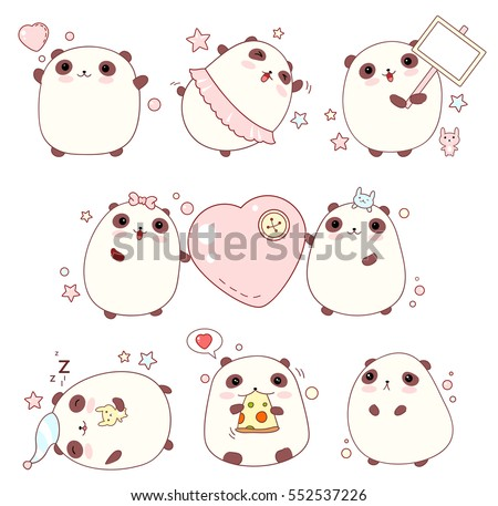 collection of cute pandas with