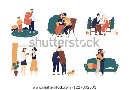 Collection of cute people giving holiday gifts or presents to each other. Bundle of scenes with adorable happy men and women making surprises. Colorful vector illustration in flat cartoon style.
