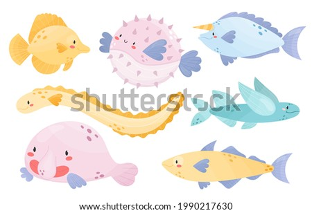Collection of cute sea animals. Different types of fish.Yellow tang, Pufferfish, Unicornfish, Ell, Flying fish, blobfish, haddock.Cartoon style vector illustration.Adorable character for kids, nursery Stock fotó ©
