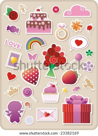 collection of cute valentines stickers for your design