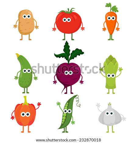 Collection of cute vector cartoon vegetables. Cartoon kawaii vegetable characters set: potato, tomato, carrot, zucchini, beetroot, asparagus, paprika, peas and garlic. Cute food characters. #232870018