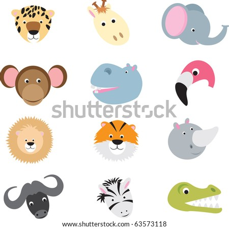 collection of cute wild animal faces as cartoons on a white background
