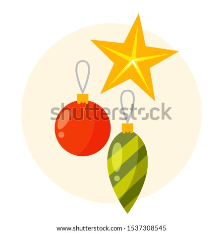 Collection of cute winter holiday decoration. Christmas decoration for a christmas tree. Isolated flat vector illustration
