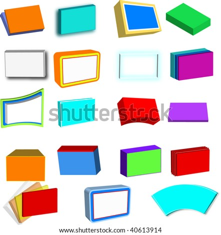 Collection of 3D boxes, screens, boards and files, in various colors, vector - stock vector