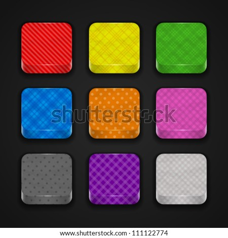 Collection of 3d colored paper textured buttons for app icons, isolated on dark background. Image contains transparency. 10 EPS