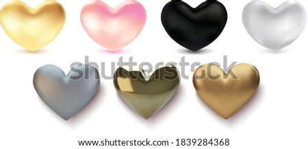 collection of 3d hearts isolated