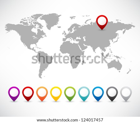Collection of 3D map pointers with world map