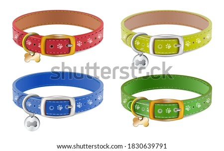 Collection of 3d realistic vector dog or cat collars in blue, red, yellow, green with silver medal. Isolated on white background. Сток-фото ©