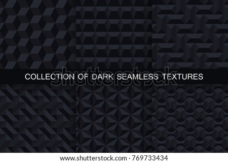 stock-vector-collection-of-dark-seamless-geometric-textures-black-d-patterns