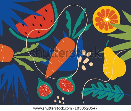 Collection of decorative abstract and doodle elements about: fruits and vegetables, leaves, watermelon, carrot, pear, orange, figs. Great for a poster, art prints, textile, card. Vector illustration.