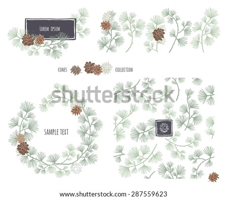 Collection of decorative cones. Coniferous seamless pattern. Frame wreath. Larch branches with cones. Pine decorative elements for your design. Vector illustration.