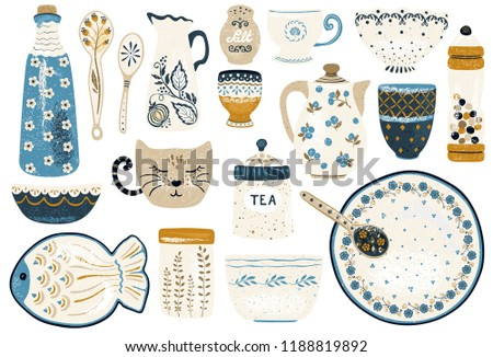 Collection of decorative tableware items isolated on white background. Vintage ceramic kitchen utensils or crockery - cups, dishes, bowls, pitchers. Vector illustration in flat rustic style.