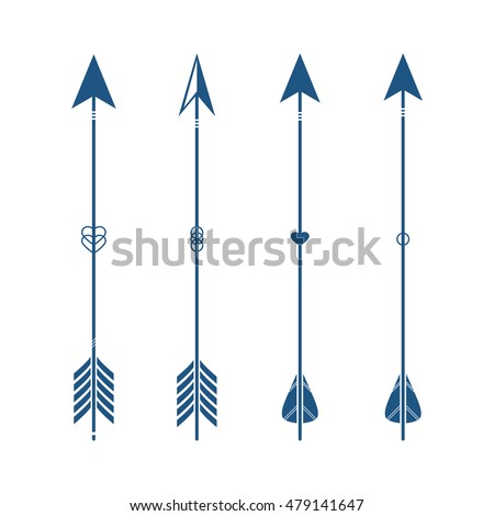 Collection of decorative tribal arrows. Hipster arrows. Indian style. 