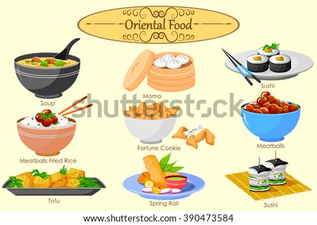 Collection of delicious Oriental food in vector