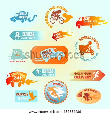 collection of delivery badges shipping signs set truck car bike courier scooter Labels illustration vector on green background Worldwide shipping 24h express free fast