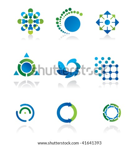 Collection of 9 design elements and graphics in green and blue color