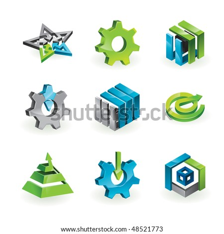 Collection of 9 design elements and graphics in green, grey and blue color - vector illustration