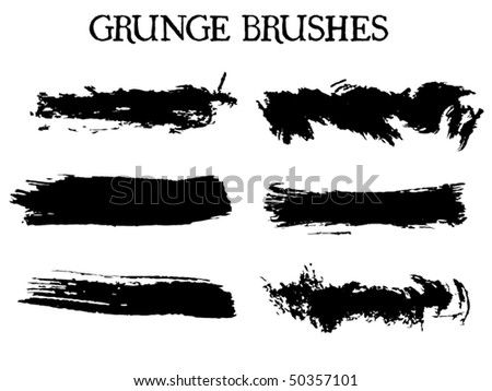 Collection of design elements. Grunge vector brush strokes