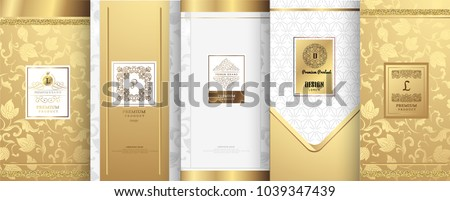 Collection of design elements,labels,icon,frames, for packaging,design of luxury products.for perfume,soap,wine, lotion.Made with Made with golden foil.Isolated on white background.vector illustration