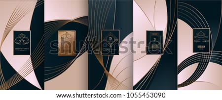 Collection of design elements,labels,icon,frames, for packaging,design of luxury products.for perfume,soap,wine, lotion.Made with golden foil.Isolated on line background.vector illustration