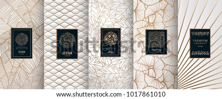 Collection of design elements,labels,icon,frames, for packaging,design of luxury products.Made with golden foil.Isolated on silver and and white background. vector illustration