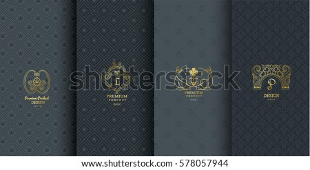 Collection of design elements, labels, icon or frames for packaging and design of luxury products. Made with golden foil. Isolated on black background. vector illustration