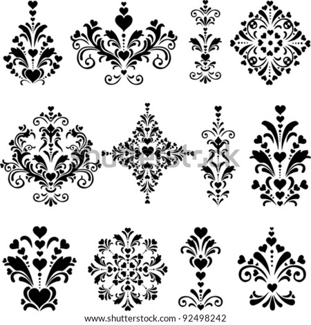 Collection of design elements vintage set isolated on White background. Happy valentine day decor. Vector illustration