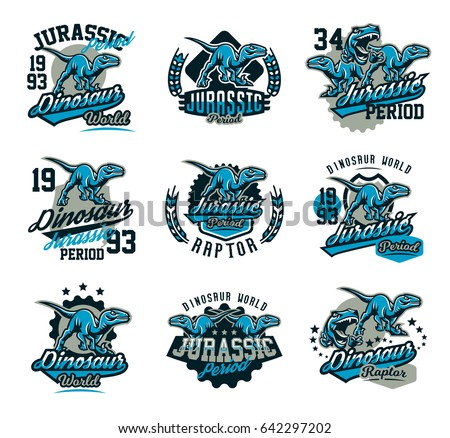 Collection of design for printing on a T-shirt isolated on white background, dinosaur of the Jurassic period. Logo, emblem, sticker, lettering. Ancient world, the era of dinosaurs. Vector illustration