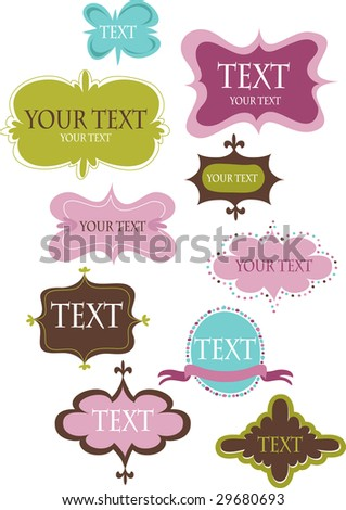 Collection of design retro frames - stock vector