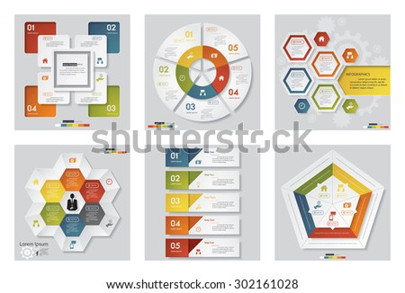 Collection of 6 design template/graphic or website layout. Vector Background. For your idea and presentation.