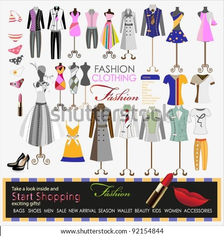 collection of designer fashion clothing hanging on mannequin as display. vector illustrator