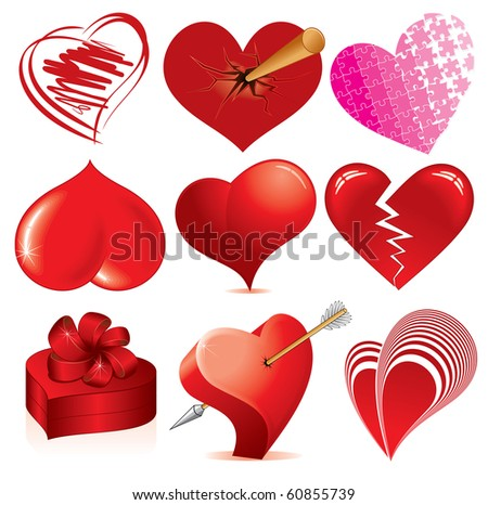 Collection of detailed vector hearts, various stylized love symbols for your design