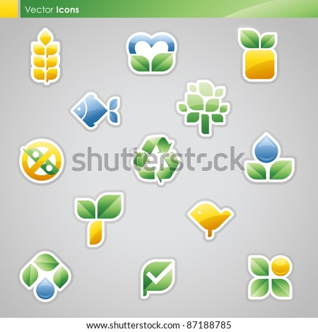Collection of diet labels and healthy food symbols. Vector illustration.