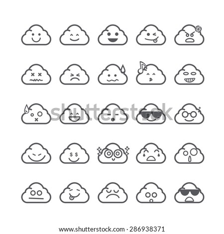 Collection of difference emoticon icon of cloud icon on the white background vector illustration