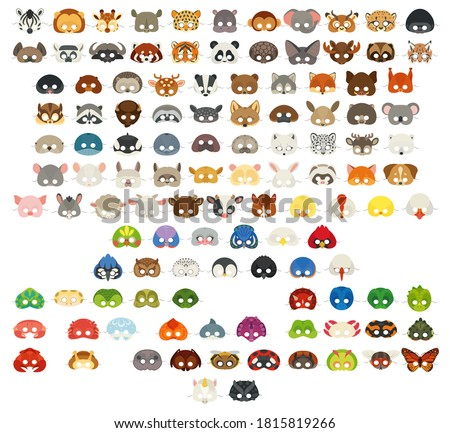 Collection of different animal face masks. Big mask set. All popular animals: wild, domestic, farm animals, pets, birds, reptiles, amphibian, insects, sea animals.
